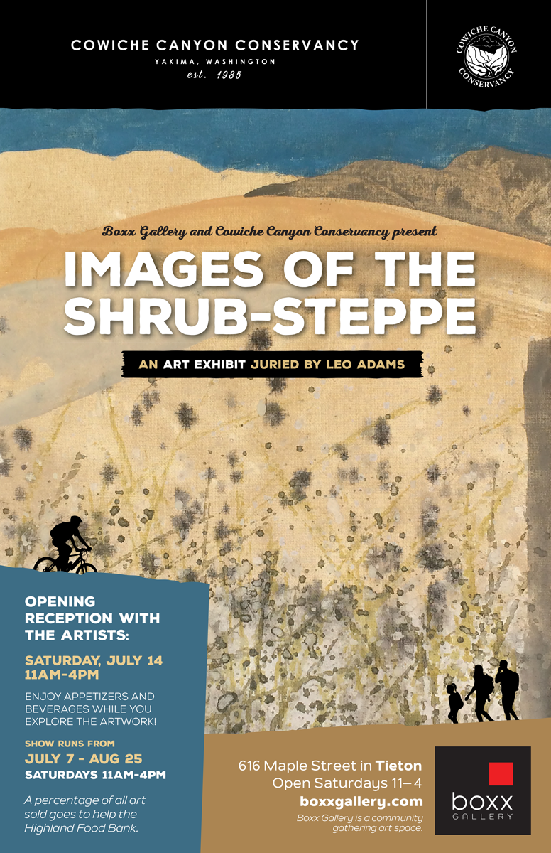 Boxx Gallery Cowiche Canyon Conservancy Images of Shrub-Steppe Art Exhibition Poster Leo Adams Artist