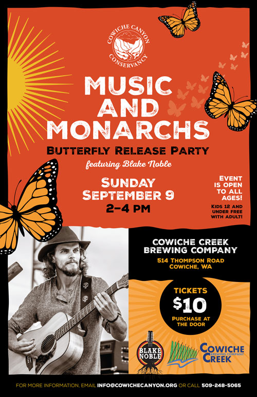 Cowiche Canyon Conservancy Music Monarchs Butterflies Brewery Blake Noble Party Events Poster