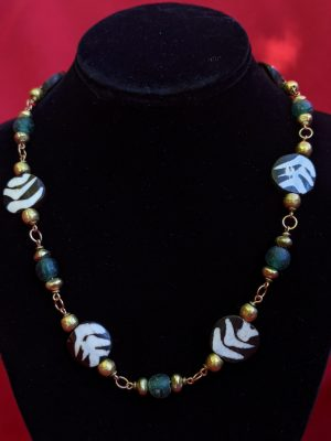 African bone bead necklace