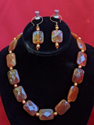Caramel orange agate necklace and earring set