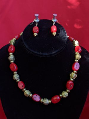 Deep red earring and necklace set