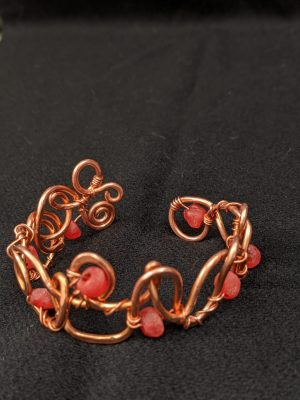 Copper wire-wrap cuff bracelet