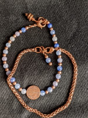 coordinating copper and aventurine bracelets