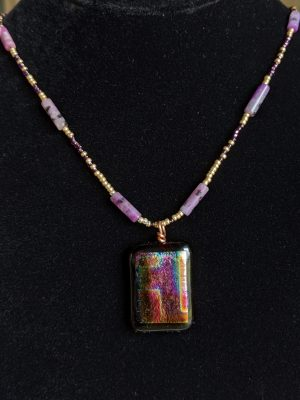 purple fused glass pendant necklace