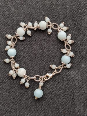sky blue matte amazonite beaded bracelet
