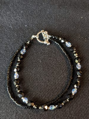 two strand black glass and crystal bead bracelet