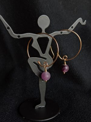 bronze & purple fluorite earrings