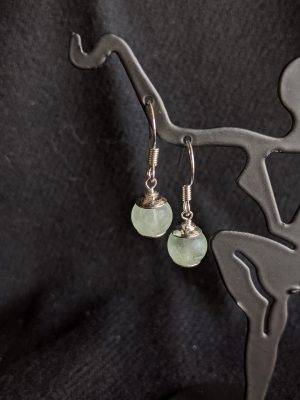 sterling silver and green fluorite earrings