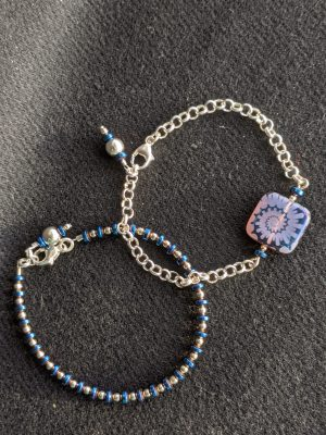 blue hematite & etched glass bracelet duo