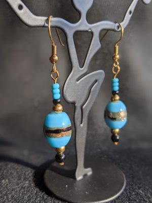 blue vintage glass dangle earrings