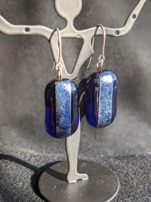 cobalt blue fused glass earrings