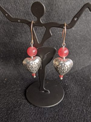 silver & watermelon carnelian earrings