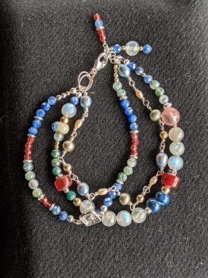 three strand multiple gemstone bracelet