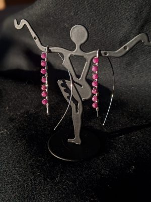 sterling silver & ruby threader earrings